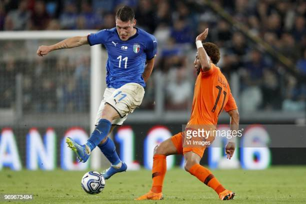 Andrea Belotti of Italy Tonny Vilhena of Holland during the International friendly match between Italy and The Netherlands at Allianz Stadium on June...