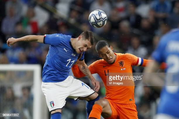 Andrea Belotti of Italy Virgil van Dijk of Holland during the International friendly match between Italy and The Netherlands at Allianz Stadium on...