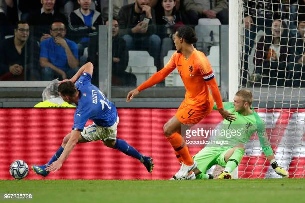 Andrea Belotti of Italy Virgil van Dijk of Holland Jasper Cillessen of Holland during the International Friendly match between Italy v Holland at the...