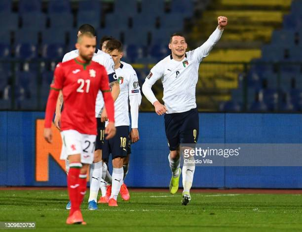 Andrea Belotti of Itlay celebrates after scoring the opening goal during the FIFA World Cup 2022 Qatar qualifying match between Bulgaria and Italy on...