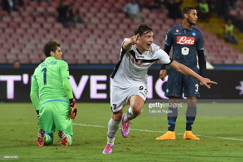 Andrea Belotti of Palermo celebrates after scoring the second equalizing goal (3-3) during the Serie A match between SSC Napoli and US Citta di Palermo at Stadio San Paolo on September 24, 2014 in Naples, Italy.