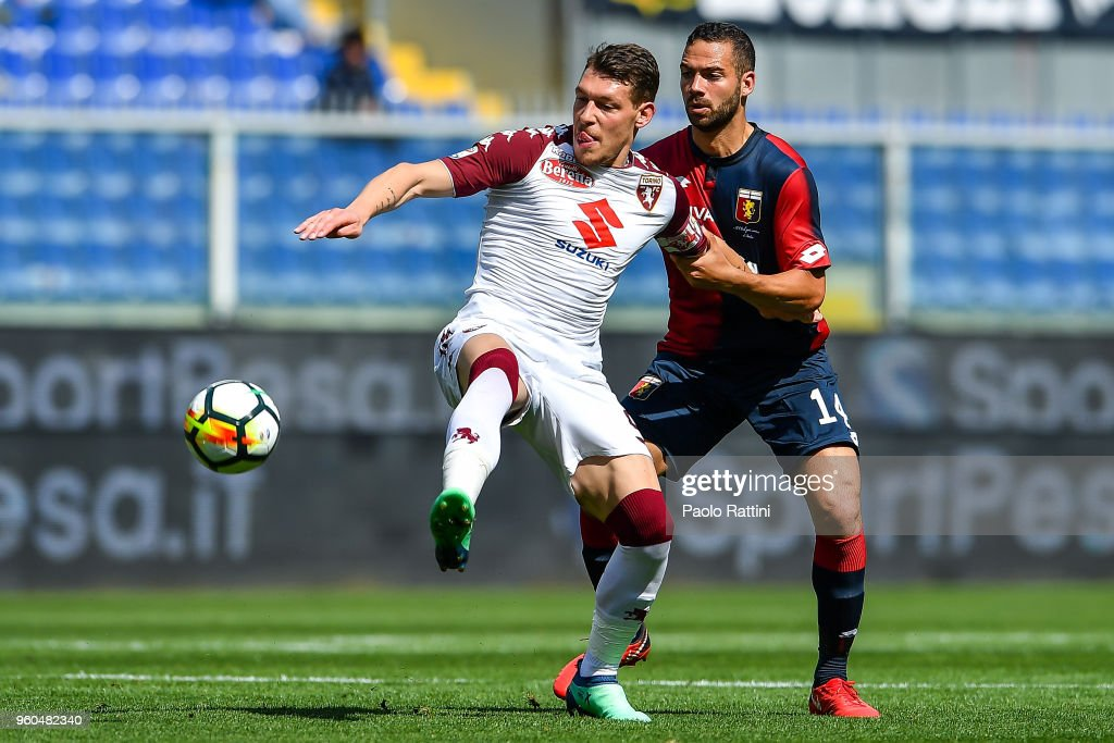 Andrea Belotti of Torino and Davide Biraschi of Genoa vie for the ball during the serie A match between Genoa CFC and Torino FC at Stadio Luigi Ferraris on May 20, 2018 in Genoa, Italy.