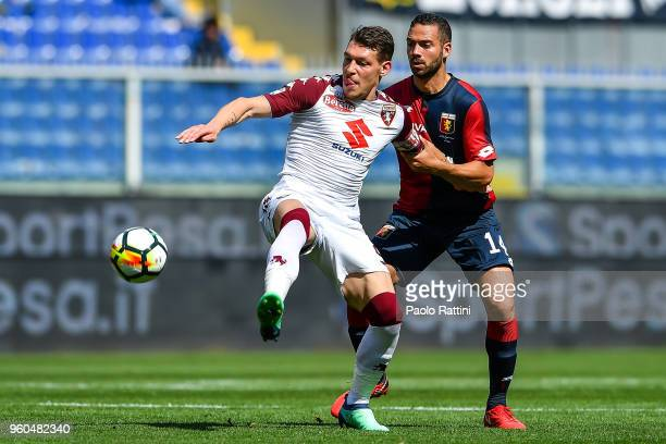 Andrea Belotti of Torino and Davide Biraschi of Genoa vie for the ball during the serie A match between Genoa CFC and Torino FC at Stadio Luigi...