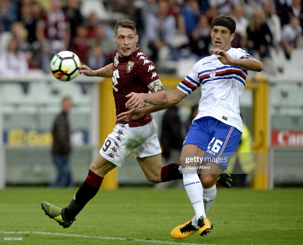 Andrea Belotti of Torino and Matias Silvestre of Sampdoria during the Serie A match between Torino FC and UC Sampdoria at Stadio Olimpico di Torino on September 17, 2017 in Turin, Italy.