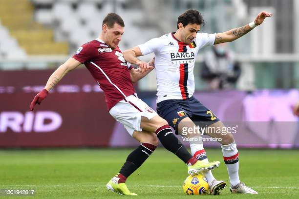 Andrea Belotti of Torino battles for possession with Ivan Radovanovic of Genoa during the Serie A match between Torino FC and Genoa CFC at Stadio...