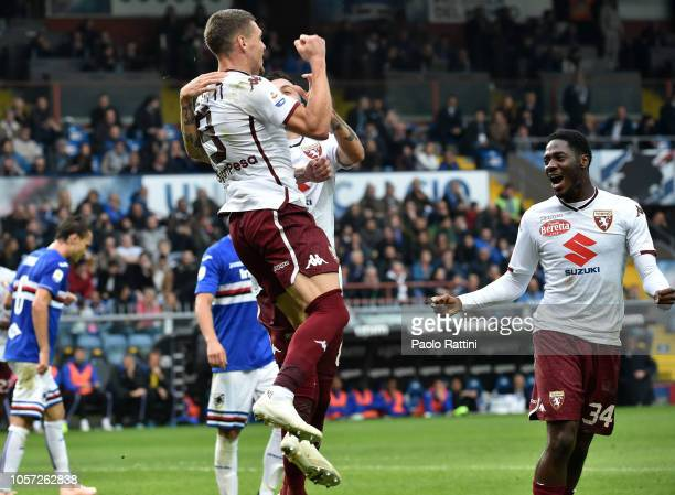 Andrea Belotti of Torino celebrates after penalty 02 during the Serie A match between UC Sampdoria and Torino FC at Stadio Luigi Ferraris on November...