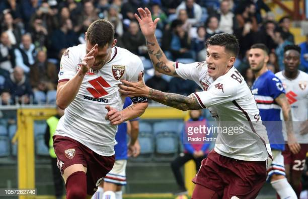 Andrea Belotti of Torino celebrates after penalty 02 with Daniele Baselli during the Serie A match between UC Sampdoria and Torino FC at Stadio Luigi...