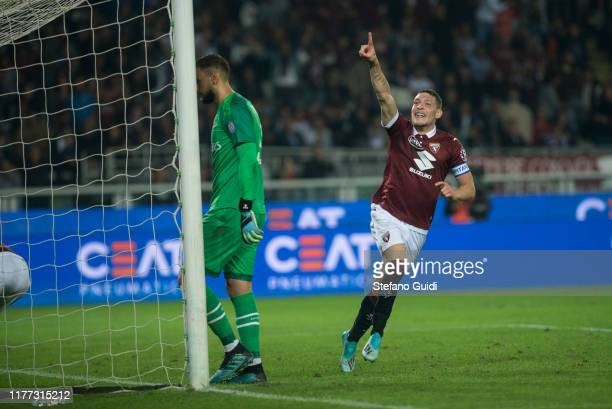 Andrea Belotti of Torino celebrates after scoring a goal during the Serie A match between Torino FC and AC Milan at Stadio Olimpico di Torino on...