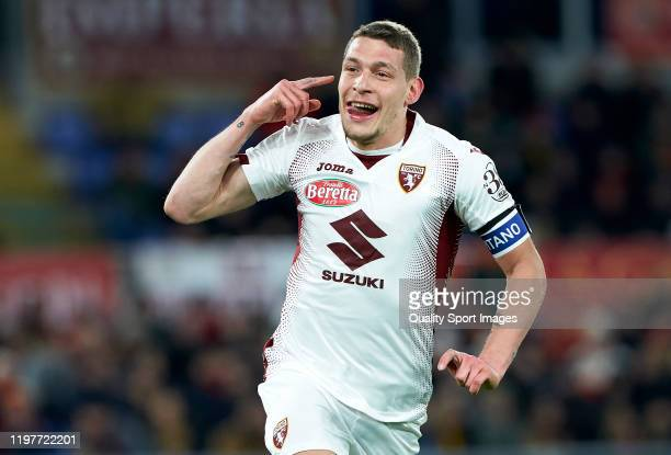 Andrea Belotti of Torino celebrates after scoring his team's second goal during the Serie A match between AS Roma and Torino FC at Stadio Olimpico on...
