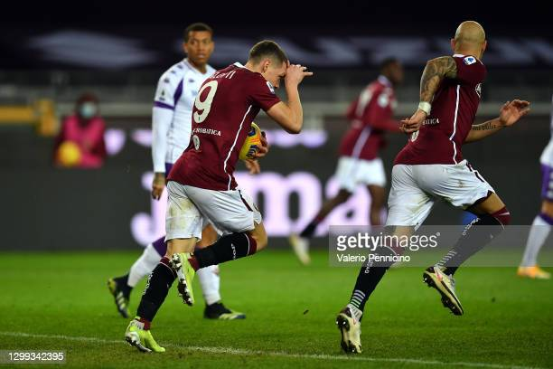 Andrea Belotti of Torino celebrates scoring during the Serie A match between Torino FC and ACF Fiorentina at Stadio Olimpico di Torino on January 29,...