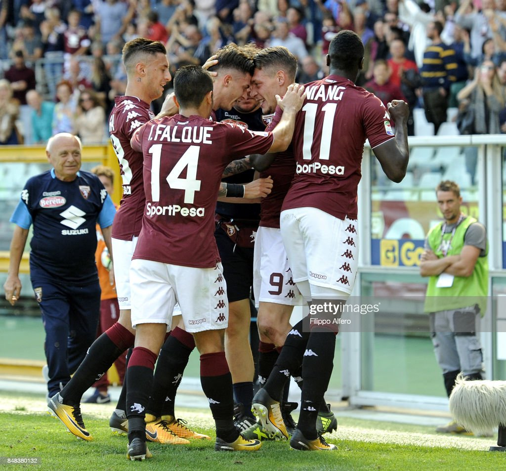 Andrea Belotti of Torino celebrates with team mates after scoring a goal during the Serie A match between Torino FC and UC Sampdoria at Stadio Olimpico di Torino on September 17, 2017 in Turin, Italy.