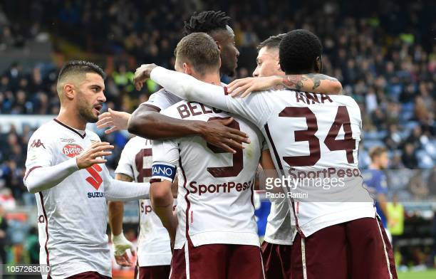 Andrea Belotti of Torino celebrates with teammates after penalty 02 during the Serie A match between UC Sampdoria and Torino FC at Stadio Luigi...