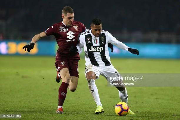 Andrea Belotti of Torino FC and Alex Sandro of Juventus Fc in action during the Serie A football match between Torino Fc and Juventus Fc Juventus Fc...