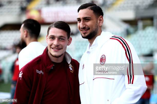 Andrea Belotti of Torino FC and Gianluigi Donnarumma of Ac Milan looks on before the Serie A football match between Torino Fc and Ac Milan The match...