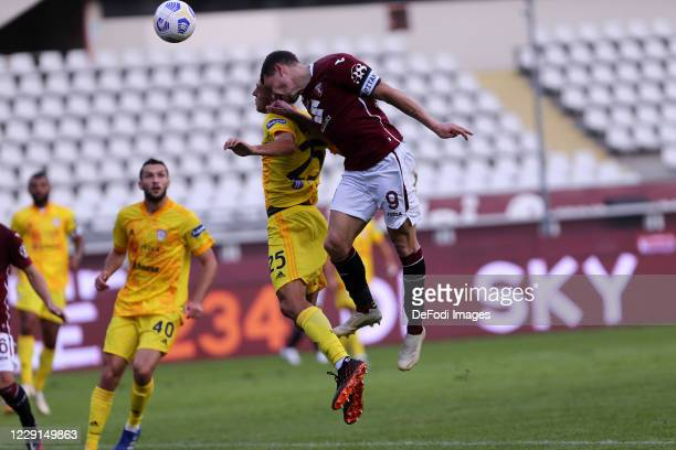 Andrea Belotti of Torino FC battle for the ball during the Serie A match between Torino FC and Cagliari Calcio at Stadio Olimpico di Torino on...