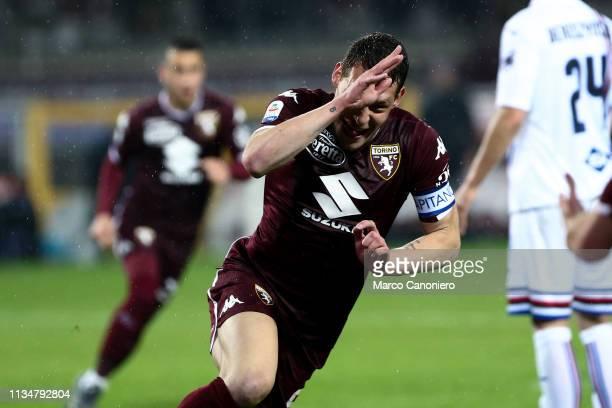 Andrea Belotti of Torino FC celebrate after scoring a goal during the Serie A football match between Torino Fc and Uc Sampdoria. Torino Fc wins 2-1...