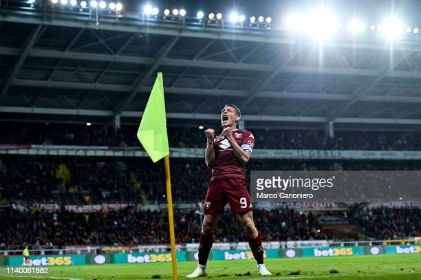 Andrea Belotti of Torino FC celebrate after scoring a goal during the Serie A football match between Torino Fc and Ac Milan Torino Fc wins 20 over Ac...