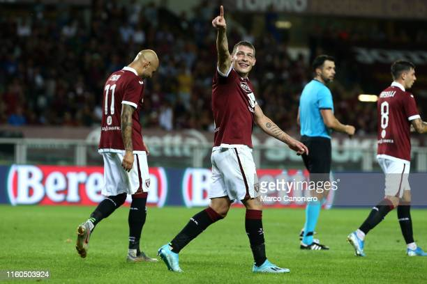 Andrea Belotti of Torino FC celebrate after scoring a goal during the UEFA Europa League third qualifying round football match between Torino Fc and...