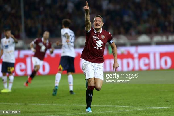Andrea Belotti of Torino FC celebrate after scoring a goal during the the Serie A match between Torino Fc and Us Lecce. US Lecce wins 2-1 over Torino...