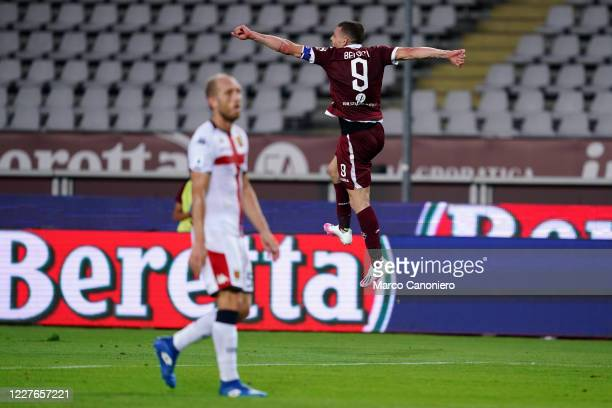 Andrea Belotti of Torino FC celebrate after scoring a goal during the Serie A match between Torino Fc and Genoa Cfc Torino Fc wins 30 over Genoa Cfc