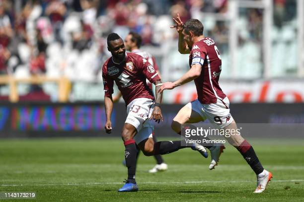 Andrea Belotti of Torino FC celebrates a goal during the Serie A match between Torino FC and US Sassuolo at Stadio Olimpico di Torino on May 12 2019...