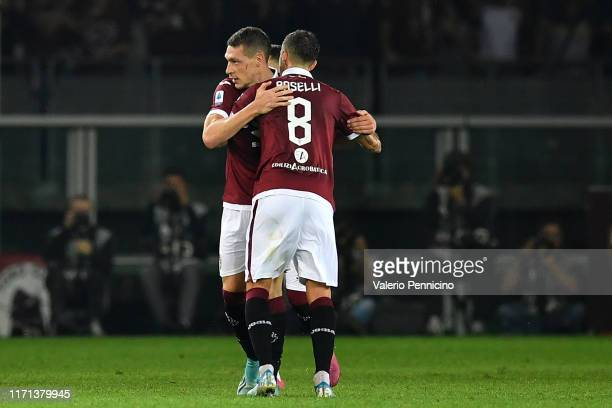 Andrea Belotti of Torino FC celebrates a goal during the Serie A match between Torino FC and AC Milan at Stadio Olimpico di Torino on September 26...