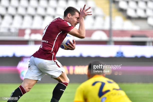 Andrea Belotti of Torino FC celebrates a goal during the Serie A match between Torino FC and Cagliari Calcio at Stadio Olimpico di Torino on October...