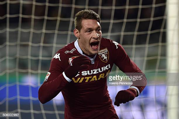Andrea Belotti of Torino FC celebrates a goal during the Serie A match between Torino FC and Frosinone Calcio at Stadio Olimpico di Torino on January...