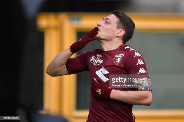 Andrea Belotti of Torino FC celebrates a goal during the Serie A match between Torino FC and Udinese Calcio at Stadio Olimpico di Torino on February...