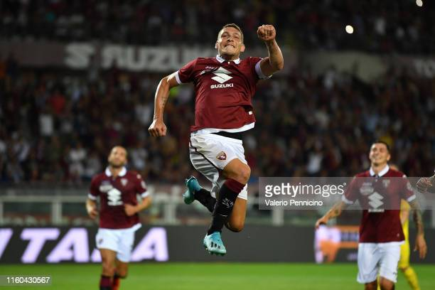 Andrea Belotti of Torino FC celebrates a goal during the UEFA Europa League Third Qualifying Round First Leg fixture between Torino FC and FC...