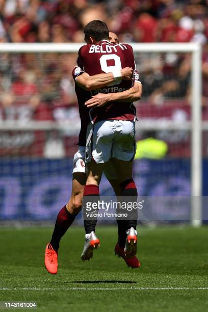 Andrea Belotti of Torino FC celebrates a goal with team mate Lorenzo De Silvestri during the Serie A match between Torino FC and US Sassuolo at...