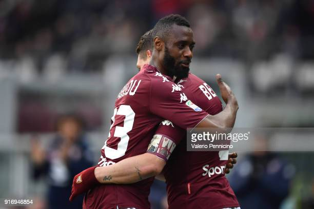 Andrea Belotti of Torino FC celebrates a goal with team mate Nicolas N koulou during the Serie A match between Torino FC and Udinese Calcio at Stadio...