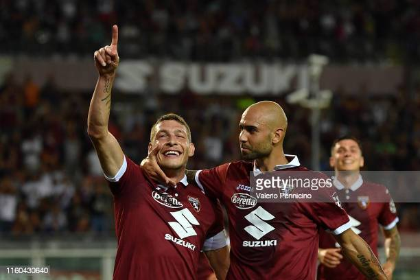 Andrea Belotti of Torino FC celebrates a goal with team mate Simone Zaza during the UEFA Europa League Third Qualifying Round First Leg fixture...
