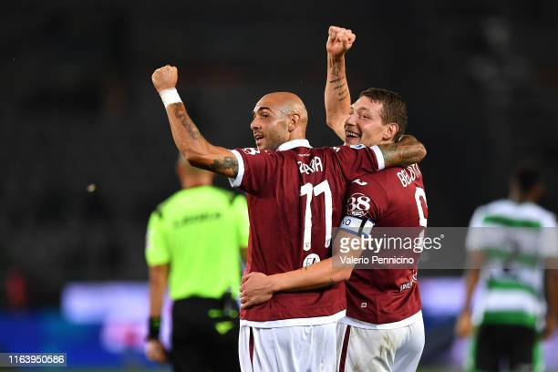 Andrea Belotti of Torino FC celebrates a goal with team mate Simone Zaza during the Serie A match between Torino FC and US Sassuolo at Stadio...