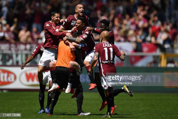 Andrea Belotti of Torino FC celebrates a goal with team mates during the Serie A match between Torino FC and US Sassuolo at Stadio Olimpico di Torino...