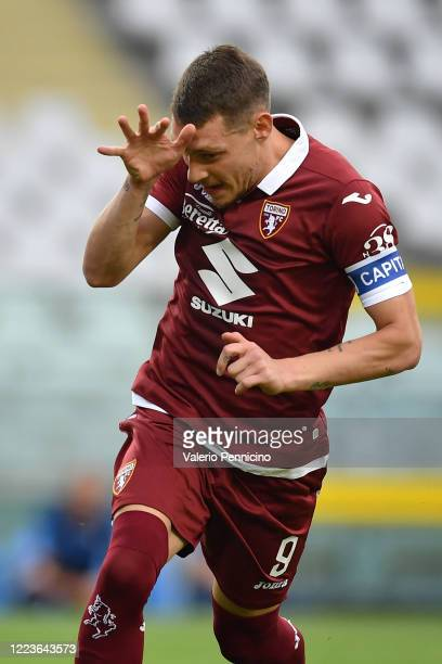 Andrea Belotti of Torino FC celebrates after scored his goal from the penalty spot during the Serie A match between Torino FC and SS Lazio at Stadio...