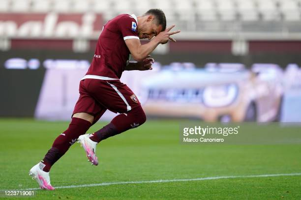 Andrea Belotti of Torino FC celebrates after scoring a goal during Serie A match between Torino Fc and Ss Lazio SS Lazio wins 21 over Torino Fc