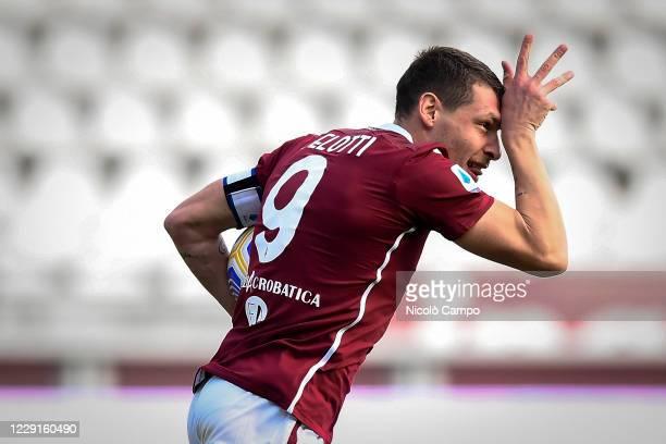 Andrea Belotti of Torino FC celebrates after scoring a goal during the Serie A football match between Torino FC and Cagliari Calcio Cagliari Calcio...