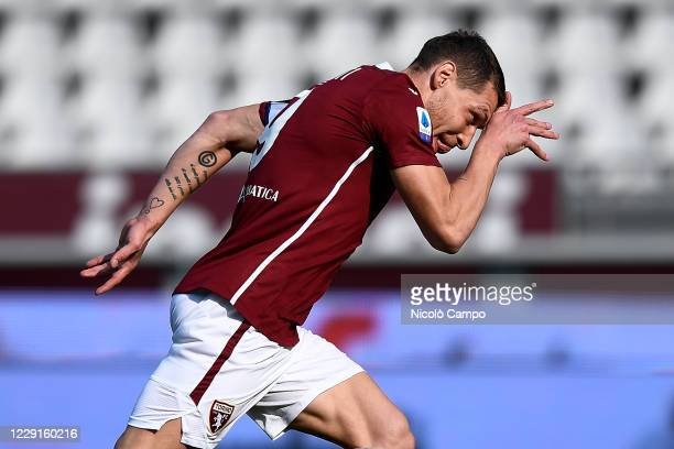 Andrea Belotti of Torino FC celebrates after scoring a goal from a penalty kick during the Serie A football match between Torino FC and Cagliari...