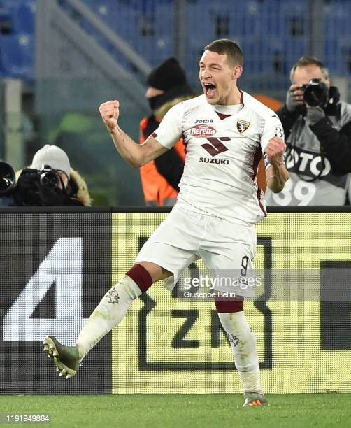 Andrea Belotti of Torino FC celebrates after scoring goal 02 during the Serie A match between AS Roma and Torino FC at Stadio Olimpico on January 5...