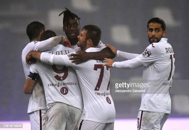 Andrea Belotti of Torino FC celebrates after scoring his team second goal during the Serie A match between US Sassuolo and Torino FC at Mapei Stadium...