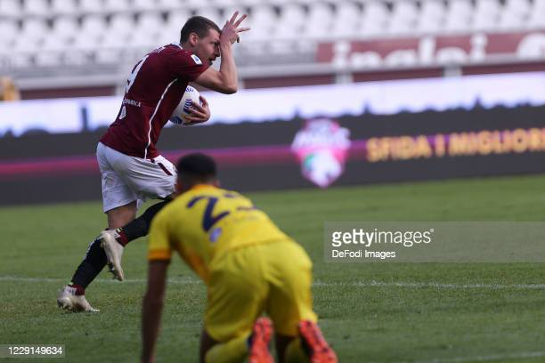 Andrea Belotti of Torino FC celebrates after scoring his team's second goal during the Serie A match between Torino FC and Cagliari Calcio at Stadio...