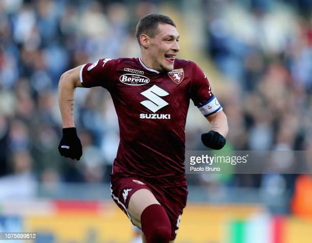 Andrea Belotti of Torino FC celebrates after scoring the opening goal from penalty spot during the Serie A match between SS Lazio and Torino FC at...
