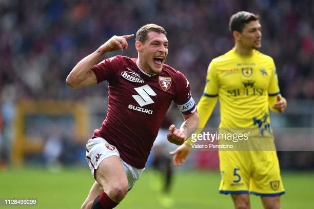 Andrea Belotti of Torino FC celebrates after scoring the opening goal during the Serie A match between Torino FC and Chievo at Stadio Olimpico di...