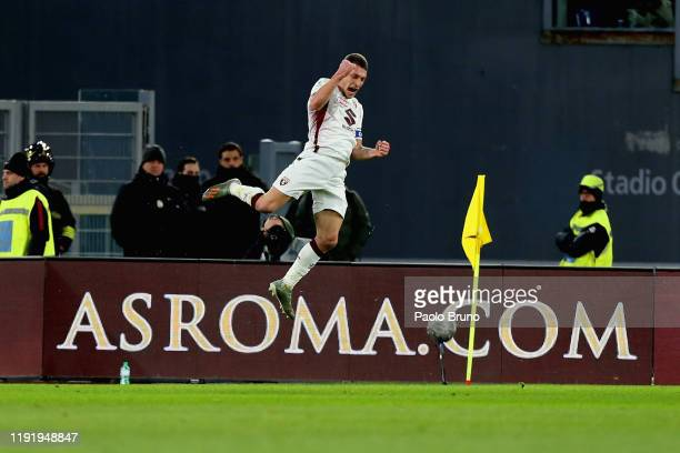Andrea Belotti of Torino FC celebrates after scoring the opening goal during the Serie A match between AS Roma and Torino FC at Stadio Olimpico on...