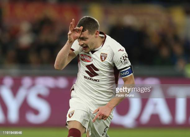 Andrea Belotti of Torino FC celebrates after scoring the team's second goal from penalty spot during the Serie A match between AS Roma and Torino FC...
