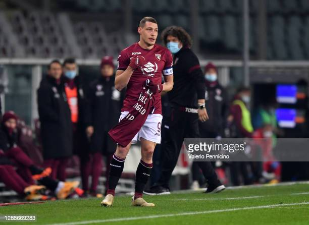 Andrea Belotti of Torino F.C. Celebrates after scoring their team's first goal by holding up a shirt with a message on during the Serie A match...