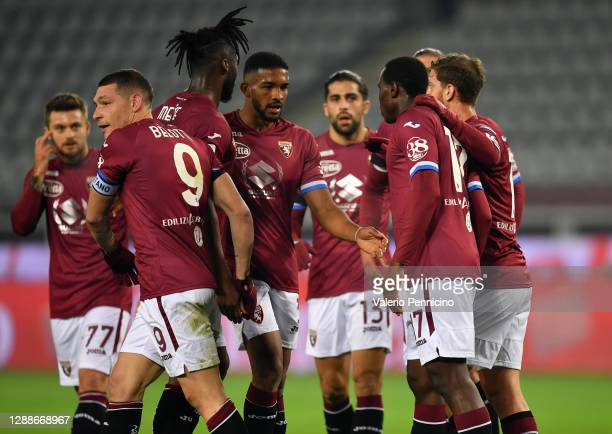 Andrea Belotti of Torino F.C. Celebrates after scoring their team's first goal with his teammates during the Serie A match between Torino FC and UC...