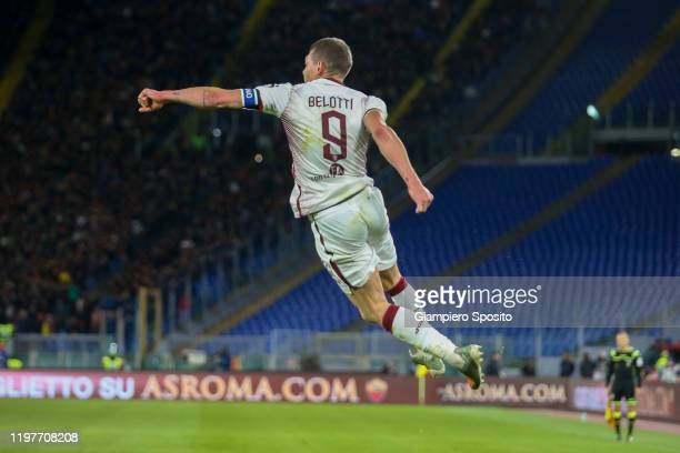 Andrea Belotti of Torino FC celebrates aftre scoring a goal during the Serie A match between AS Roma and Torino FC at Stadio Olimpico on January 05...