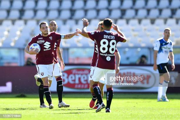 Andrea Belotti of Torino FC celebrates his second goal during the Serie A match between Torino FC and Atalanta BC at Stadio Olimpico di Torino on...